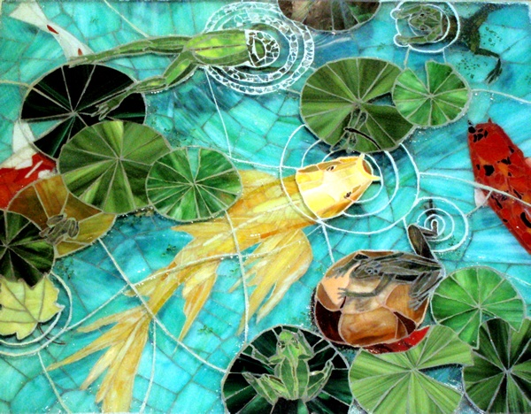 Frog Pond Mosaic Art Table Stained Glass