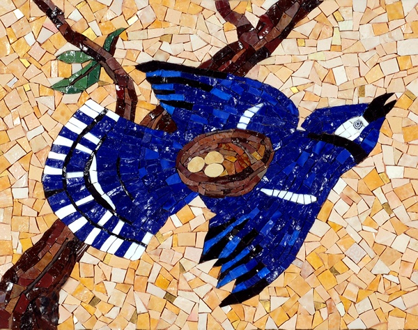 Bird Art, Nests, Annette Cossentine Mosaic Art