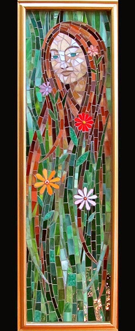 Persephone Mosaic Art Woman with Flowers in Hair