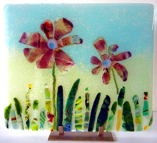 Fused Glass Art Rose Hawley Flower