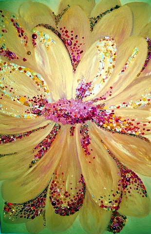 Yellow Flower Painting Mosaic Art