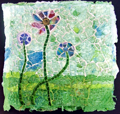 Tempered Glass Mosaic Flowers Marian Shapiro