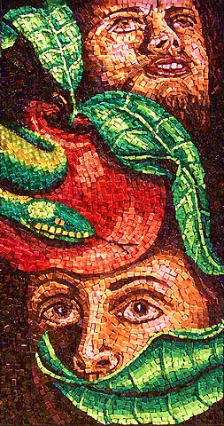 Adam and Eve Eden Apple Mosaic Art