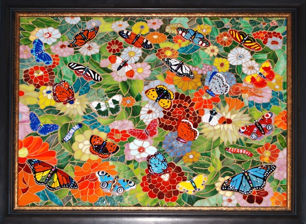 Butterfly Butterflies Fused Glass Mosaic Art Wong