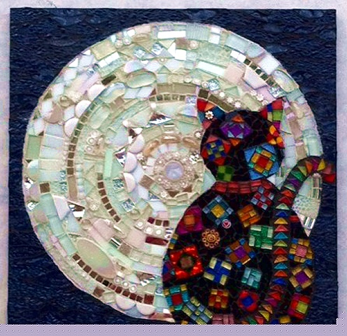 Cat Moon Mosaic Art Claire Roche