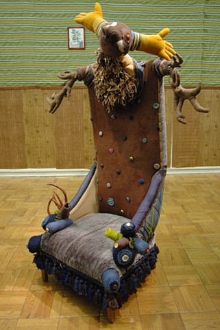 fabric chair, fiber chair, stag chair, Lauren Turk, artist Turk, deer chair, Washington State University