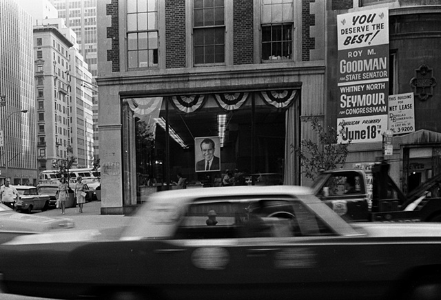 Photo of Richard Nixon on display in NYC storefront