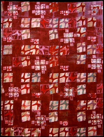 art cloth: screenprinted, hand-dyed, red landscape grid