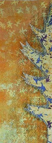 art cloth: deconstructed screenprint with oak leaves