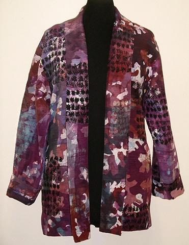 hand-dyed silk/hemp jacket; oak leaf motif