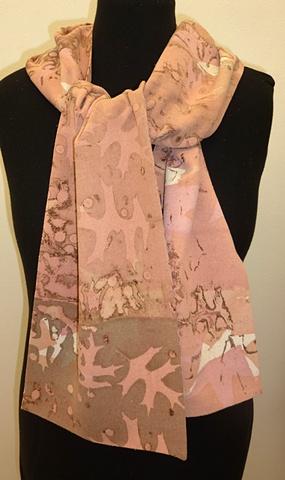 Soft pink & brown silk noil scarf