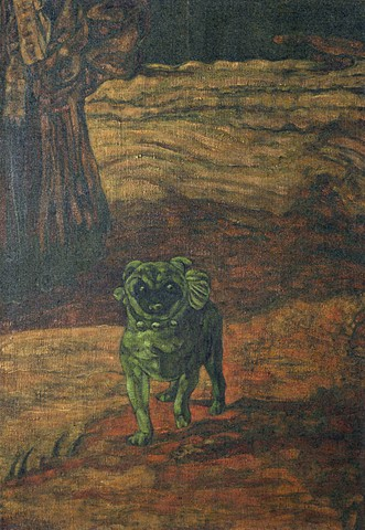 Artist's Dog (Pugnacious)   (after%The Marquesa de Pontejos%, Fracisco de Goya, 1786