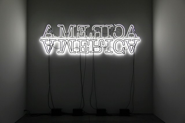 """Double America"" by Glenn Ligon at Luhring Augustine Gallery, New York"