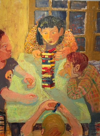 Oil painting, family, games, children, interior, modern decorative, figurative