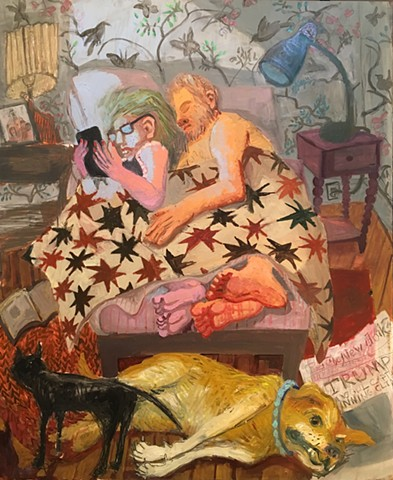 Oil painting sleeping bed Trump anxiety dog couple wallpaper Ashley Norwood cooper