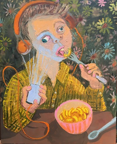 Teenager eating oil painting Ashley Norwood cooper