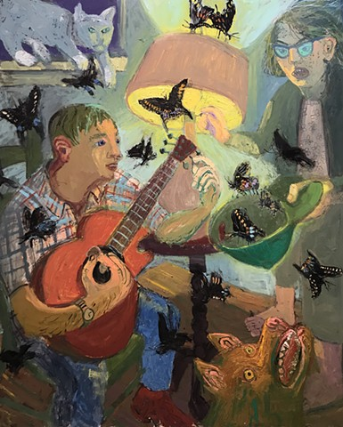 butterfly, oil painting, art gallery, cool, very cool, guitar