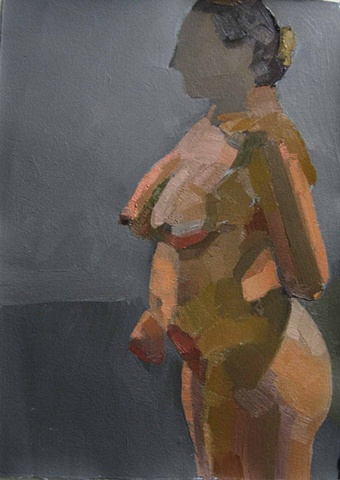 oil painting on paper of a nude woman in profile