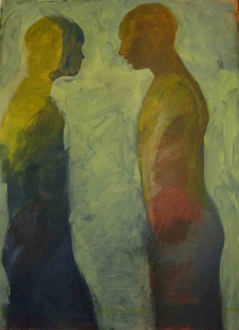 oil painting on paper of two men facing each other