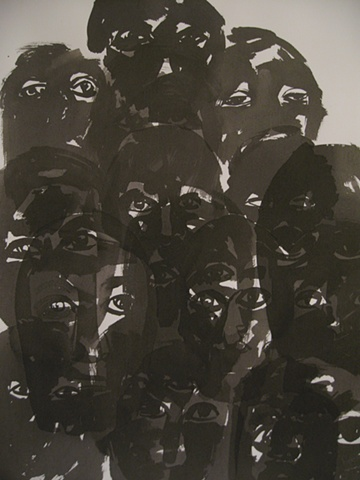 ink drawing of overlapping heads and eyes