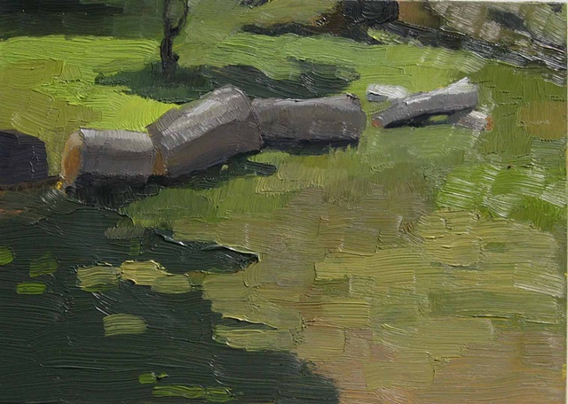 Painting of a log in the Arnold Arboretum, Jamaica Plain