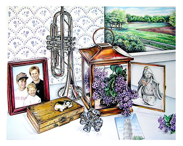 A biographical still-life done with the client's personal items.