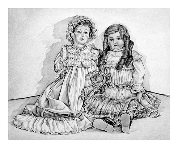 Black and White version of original colored pencil painting
