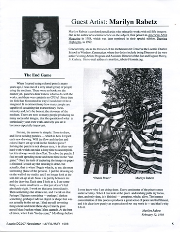 Artile written about the artist's work in the CSPA Bulletin of the Seattle chapter