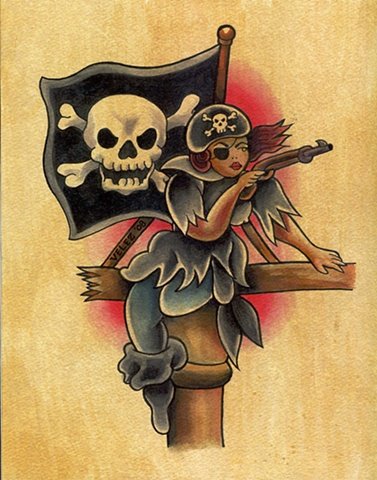 Pirate Girl redrawn from Bert Grimm stencil