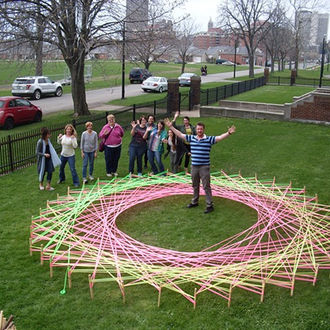 Buffalo Public School Teachers making a string art mandala during professional development day, 2016