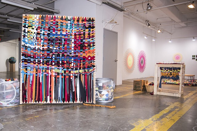 Community Space Gallery at Buffalo Arts Studio, 2016 featuring aframe loom and knitting nancy