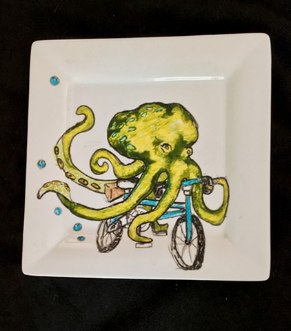 Octopus on Bike Ceramic Plate