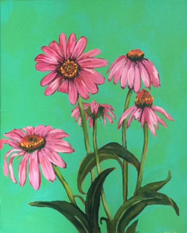 Echinacea floral study painting