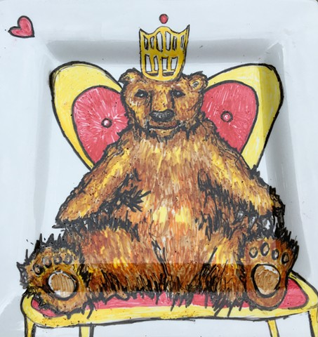 Custom Ceramic Plate Painting - Bear Queen of Hearts