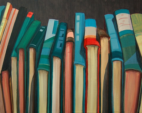 Painting of books by Jordan Buschur