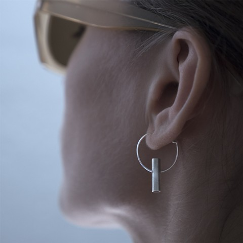 GEOMINI Short Tube Earring silver
