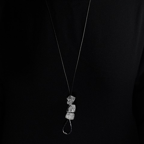 Elsa Hedberg GEOROCKS Hanging Rock Necklace with Jaspis and Hematite