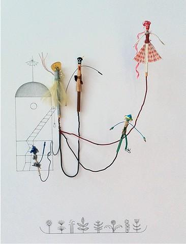 collage, matchsticks, miniature, art, sculpture