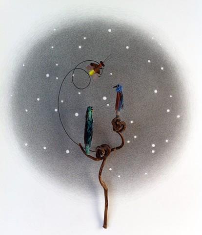 collage, matchstick, miniature, sculpture, art