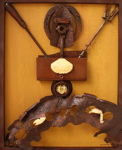 crustacean, carapace, claw, rusty, metal, recycled