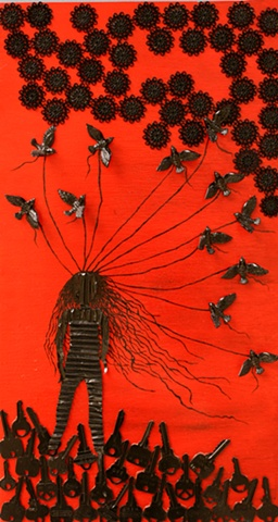 wings, birds, long hair, flying, fly, recycled art