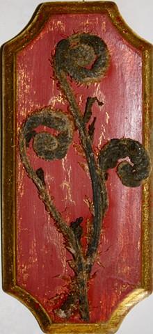 fiddlehead ferns & acrylic on found moulding