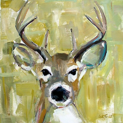 Deer on Olive Green