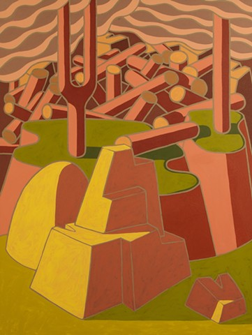 Upper Peninsula of Michigan artist abstract narrative landscape painting.