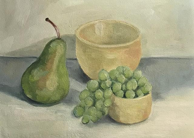 Pear, Grapes and Bowl