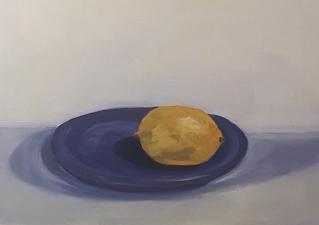 Lemon on Blue Plate