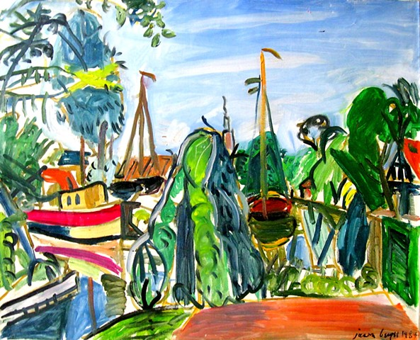 Oil painting of The Boatyards of Edam