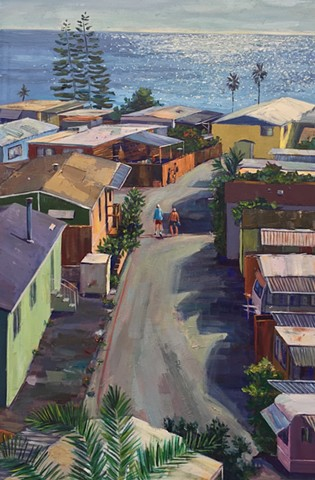 mobile home, trailer park, los angeles, beach houses, cottage, marine painting, beach painting, newport Beach, ocean, harbor, California, art of california