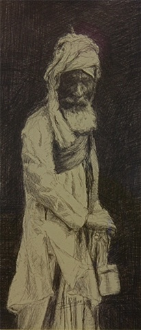 """Old Man Crossing....New Delhi. Study for Painting"""