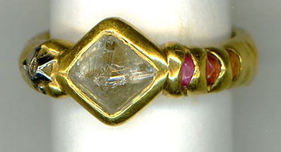 Natural Diamond Crystal, Natural Platinum Crystal, Pink and Orange Sapphires with 24kt. Gold